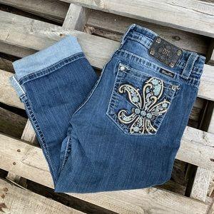 Miss Me Boyfriend Capri embellished pocket